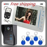 """7"""" Door Phone Doorbell Compatible RFID Keyfobs CCTV camera Video Intercom System"""