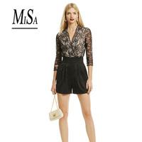 MISA 2014 New Brand Black Lace Jumpsuit Women Three Quarter Short Bodysuit Brand High Quality Elegant Overalls Macacao Feminino