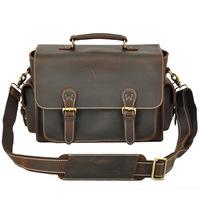 2014 new lear Genuine leather mens bag Soft cowhide Handmade High-end Retro Handbag Eisure Men Camera Bags Slr Bag Briefcase