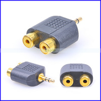 Gold Plating Port 3.5mm Male to Dual 2 Audio Female Splitter Adapter Converter by DHL 500pcs/Lot