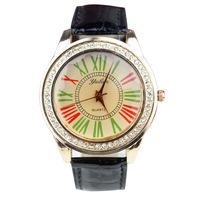 2013 New European Style Fashion Watch Leather Retro Roman Numerals Man / Woman Quartz Watch Free Shipping