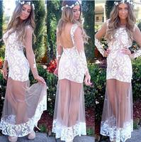 Super Beautiful Women Dress Sexy crochet  lace evening dresses Plus Size vestidos S-XL