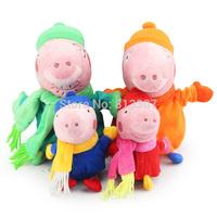 4pcs/lot 30cm Daddy Mummy & 19cm Peppa Geroge in Winter Clothes Boneca Peppa Pig Family Plush Toys Brinquedo Kids