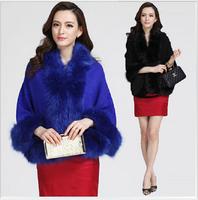 2014 Fashion Winter Shawl Jacket Women Wool Wrap Cape Natural Fox Fur Knitting Cardigan Coat Lady Outerwear 6colors