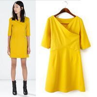Cross-Neckline Half Sleeve Casual Dress Yellow Womens Summer Dresses New 2014 Above Knee Mini Vestidos Femininos 2014 NEW