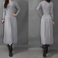 High quality rabbit hair long-sleeve dress yarn knitted woven bottom expansion full dress