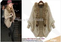 2014 winter new European and American big size women bat sleeve knit cardigan sweater coat wholesale