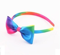 {Min.Order $15} 12pcs/Lot New Kids/Girl/Princess/Baby Rainbow Bow Satin HeadBand/Hair Accessories 3 Colors Mixed