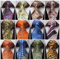 "QB Check Paisley Floral Stripe 3.4"" 100%Silk Wedding Party Jacquard Woven Classic Men Tie Necktie"