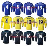 2014-2015 Champions League long sleeve HAZARD 10 DIEGO COSTA 19 soccer jersey DROGBA OSCAR FABREGAS Football shirt UCL+Respect