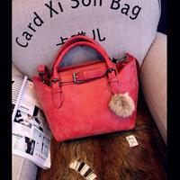 2014 fashion nubuck leather  women's handbag one shoulder strap cross-body tassel bag messenger bag