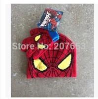 2015 winter newest free shipping 6sets /lot  baby boy cartoon spider man  winter cap+glove  warm cap and glove 2pc set  3-10year