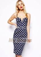 2014 High Quality Womens Wrap Sexy Dress Knee Length Sling Polka Dot Sleeveless Dress Navy Blue S/M/L/XL SV006420