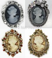 4 pcs/lot  Victorian Vintage Cameo Bow Brooch Pin Rhinestones  , Free shipping AB011