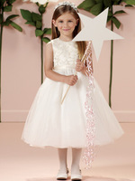 2015 White Formal girls gown Graceful pure Lace Flower Girl Dresses Satin & Lace little girls pageant dresses dress for kids