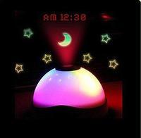Hot New Dream Star Projection Clock LED Moon Star Projector Nightlight Clock#L0142504