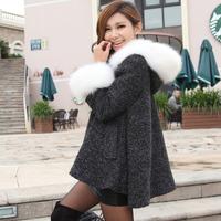 2014 autumn and winter women cloak woolen outerwear expansion skirt wool coat fur collar outerwear