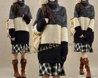 New arrival women's winter vintage loose thicken stripe pattern knitting sweater thermal turtleneck sweater female 1077