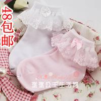 Child baby 100% cotton mesh socks lace decoration sock 100% cotton princess female child boneless