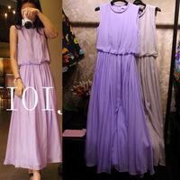 Hot Sale European Style Women Summer Evening Party Dresses Maxi Silk Long Dresses Purple/Gray Femininos Branco Free Ship W20904