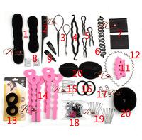 Hot Sale Fashion 20 Styles/set Hair styling tools , braiding tools.Hairpins Clip Insert Tool Hair Bun Donut hair accessories set