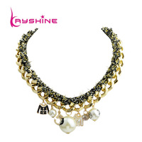 Fashion Design Gold color Alloy Chain and Imitation Pearl Collar Necklace For Women Perfumes Femininos