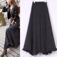 2014 Free Shipping New Fashion Women Clothing Autumn&Winter Ladies Slim Ruffle Yarn Skirt Fashion Vintage Knitted Skirt LBR551