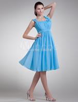 2015 Elegant Blue Knee Length Bridesmaid Dress Party Prom Gowns Dresses plus size dress under $50
