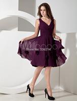 2014 Hot Sale Pleated V-neck Chiffon Knee Length Bridesmaid Dresses Custom Made