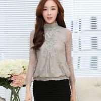 Elegant Look Fitness Long Sleeve Beading Women Tops 2014 Newest Plus Size Lace Embroidery Blusas Femininas 1226