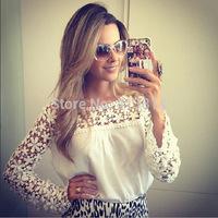 NEW Fashion Women's Plus Size Lace Blouses Tops Shirt Blusas Femininas C009
