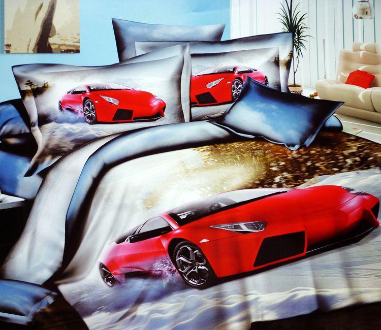 3d voitures de course coton literie douillette queen - Housse de couette voiture de course ...