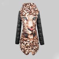 2015 New Luxury Brand Leopard Tiger Head Parchwork Women Winter Warm Thicken Down Jacket Long Punk Plus Parka Jacket Clothes