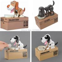 Wholesale 3 pcs/lot NEW Mechanical Choken Hungry Dog Coin Bank Money Saving Box Piggy Bank Kids Gift Free Shipping