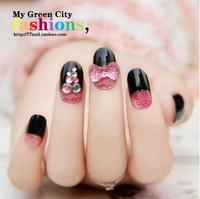 Free Shipping 24pcs /set party Style Pink bow Rhinestones 3d False Nails Wedding Finger fake Nail DIY Stickers Decals Tools J9