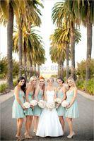 Elegant New Light Green Bridesmaid Dresses 2015 Chiffon Bridesmaid Gown Formal Chiffon Party Dress Custom Size H505
