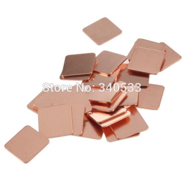 O3T# 30Pcs 15mmx15mm Heatsink Copper Shim Thermal Pads for Laptop GPU CPU VGA(China (Mainland))
