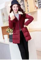 Woolen Cotton Padded Winter Coat Women Parka Fur collar Patchwork Slim Waist