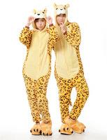 Leopard Tiger Animal Cosplay Costume Men Women Adult Onesie One Piece Pajamas Soft Fleece Pyjamas Jumpsuit Romper Sleepwear
