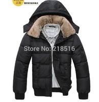 2014 New men down coat Men's coat Winter overcoat Outwear Winter jacket hooded thick fur jackets outdoor Free shipping
