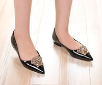 free shipping genuine leather lady flats with decoration women ballerina fashion flats sexy women shoes  big size  35~41