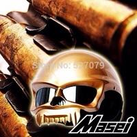 Half Face Helmet Skull Motorcycle Helmet Harley MASEI 429 Gold NEW ARRIVAL Year 2015