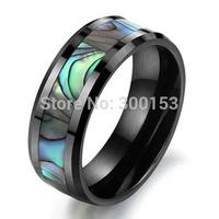 NEW 8mm Black Ceramic Mens Green Abalone Inlay Wedding Band Ring Jewelry Size 6 7 8 9 10 11 12 w/ HQ Box