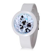 2015 New Fashion Women Dress Watch Casual Sport Watches Rubber Quartz Flower Dial Wristwatches