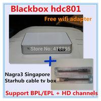 Free wifi adapter ! Singapore starhub tv box Black box c801 hd watch BPL+HD channels,better than blackbox hd c600 608 c600mini