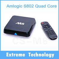 Original smart M8 amlogic s802 quad Core Android 4.4 TV Box XBMC Fully Loaded Mali450 4K H265 2.4GHz Wifi Mini PC