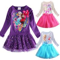 2014 new Frozen girls dress, ELSA & ANNA princess long sleeve dress, Europe and the United States cartoon 100% cotton dress.