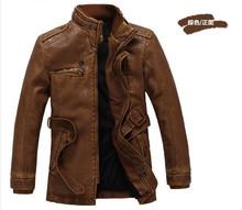 New 2014 Winter Hot men's leather jacket men's genuine leather jacket coat men long leather down jacket men leather clothing(China (Mainland))