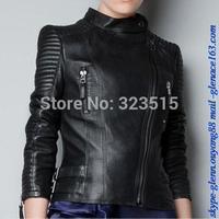 Hot Sales Vintage Women Black Slim Biker Motorcycle Soft Leather Zipper Jacket Coat Short