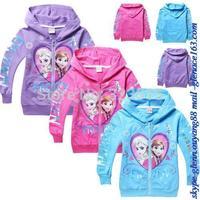 2014 Hot Sales Hoodies Clothing Frozen Elsa Anna Top Jacket 3-8Y Kids SweatShirt Coats
